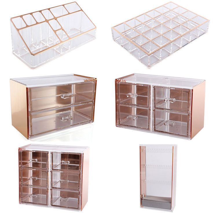 Rose Gold Cosmetic Makeup Organizer Drawer Display Tray Storage Table Decor