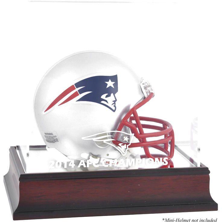 New England Patriots Fanatics Authentic 2014 AFC Champions Mahogany Logo Mini Helmet Display Case - $39.99