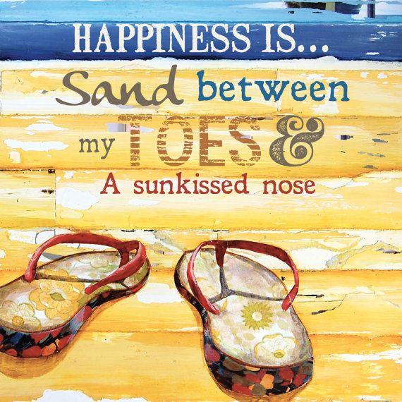 ART PRINT flip flops sand beach gift retro by dannyphillipsart