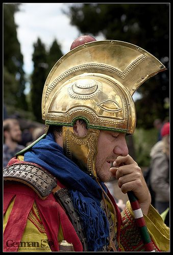 A Late Roman soldier wearing an Intercisa IV style helmet.