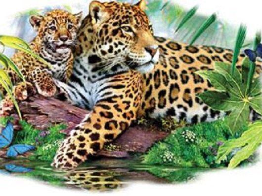 Jaguar & Cub T SHIRT, Sweatshirt, Quilt Fabric Block 296 by AlwaysInStitchesCo on Etsy
