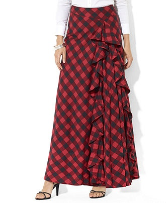 Lauren Ralph Lauren Skirt, Plaid Ruffled Maxi - Womens Skirts - Macy's