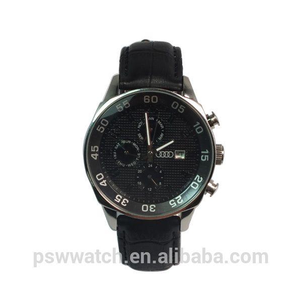 2014 nuevo producto de acero inoxidable estuche de cuero original, Auto fecha y longboard completo agenda, Audi marca reloj de pulsera de moda reloj