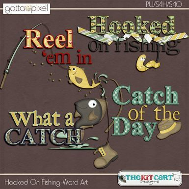 Hooked On Fishing Digital Scrapbook Word Art. $2.99 at Gotta Pixel. www.gottapixel.net/