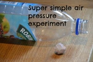 Simple air pressure experiment for kids