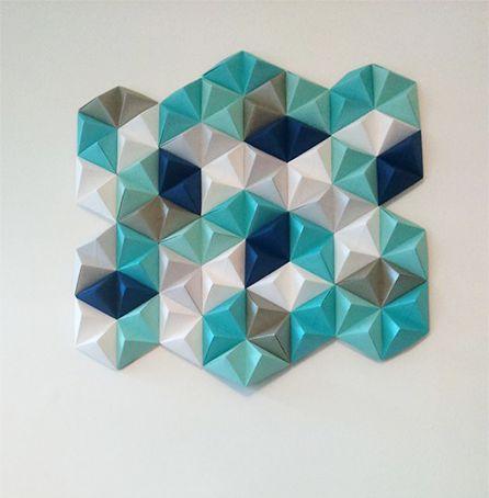 Origami Paper Wall Art: con explicaciones muy claras paso a paso. Ideal para cubrir superficies.