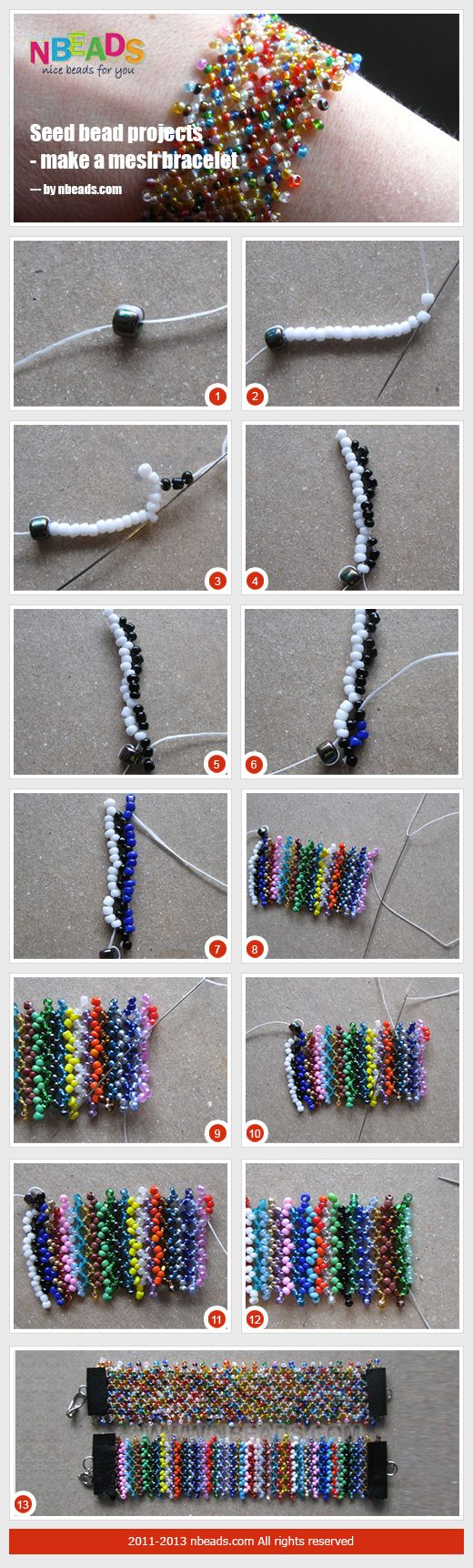 netted bracelet - {I should do this with my seed bead colour mixes that are otherwise unuseable}