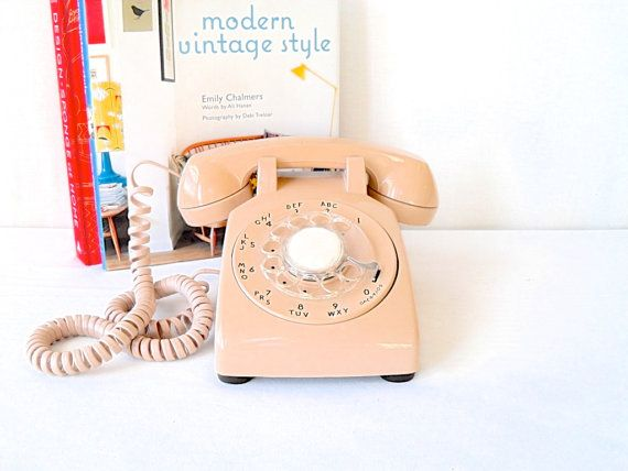 Vintage Tan Rotary Telephone Mad Men Style by FlyingAce on Etsy, $32.00