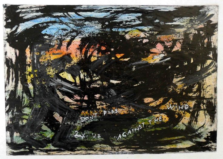 "g.a.zanussi, ""don't piss against the wind"" arte polimaterica quadro 32x46 opera su carta, 2017"
