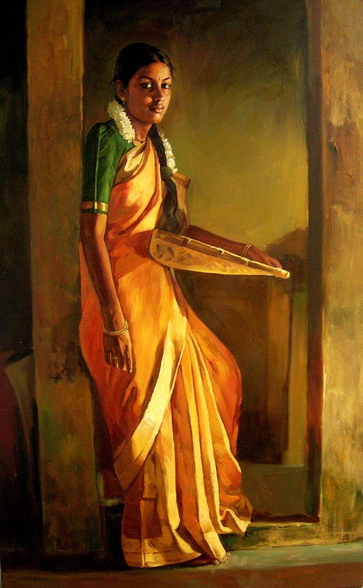 oil painting - oil on canvas - artist ilayaraja - indian women - tamil women