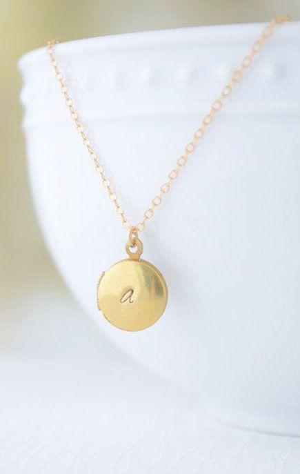 Initial Locket engraved locket necklace