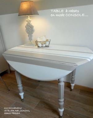 table relookée bord de mer ronde à rabats blanc à rayures bayadères taupe et gris gustavien relooking cm homedeco by Victoria Camp