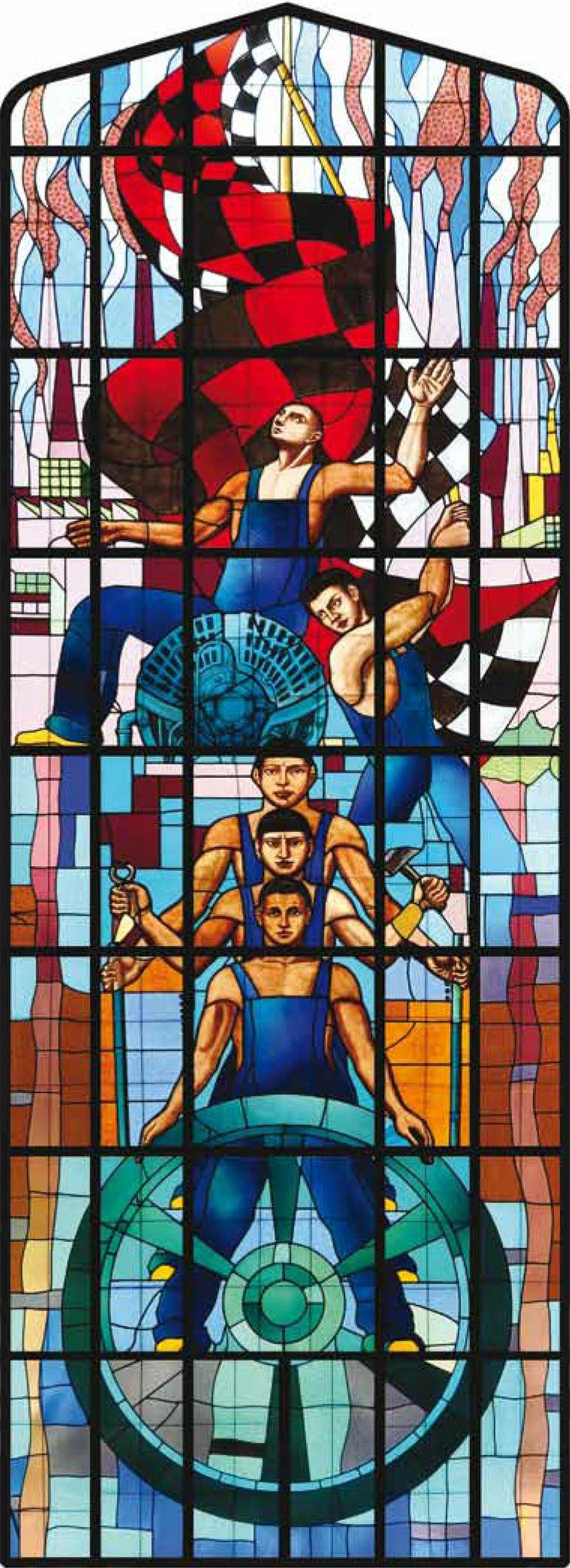 """La Industria, vitral. Autor: Roberto Montenegro. 1933-1934. Ubicación: Aula Magna """"Fray Servando Teresa de Mier"""", Colegio Civil Centro Cultural Universitario."""