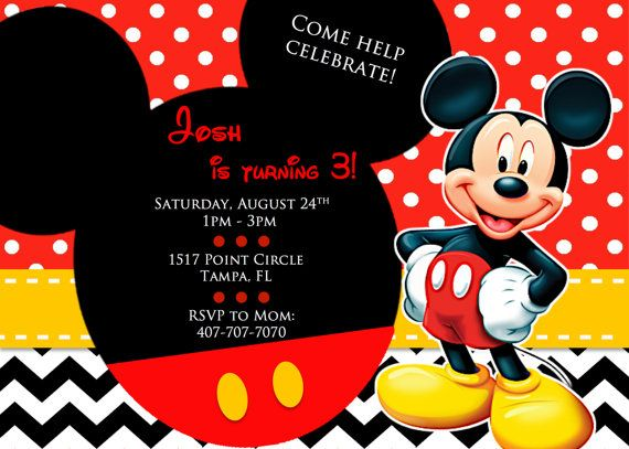 21 best Mickey Mouse Classic Colors (Red Yellow Black) Invitations - mickey mouse invitation template