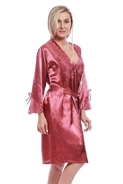 a77375e7d86 BellisMira Women s Satin Robe Silk Dressing Gown Lace Pyjamas Long  Nightdress Sexy Ladies Bathrobe Sleep Slip