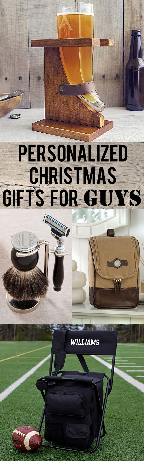 Whether you are searching for gift ideas for your husband, dad, boyfriend brother or best friend, we've searched for unique personalized gifts that are unique, functional, and unforgettable. From engraved Viking beer horns to personalized safety razor and bristle brush shaving sets, these gifts are sure to surprise and to please. These gifts and more can be ordered at http://myweddingreceptionideas.com/personalized_holiday_gifts_for_guys.asp