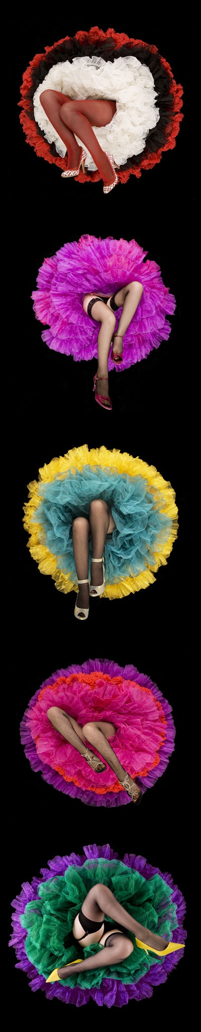 This is both pretty but somewhat disturbing. Like, ooh, it's like flowers made of tulle...with...disembodied legs coming out of them. It'd be nice to see a smile or a wink peeking out over the top of the skirts. DARYL BANKS