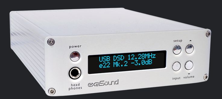 Exasound E22 MK2 DSD DXD USB DAC with galvanic isolation eliminating noise between computer and DAC.