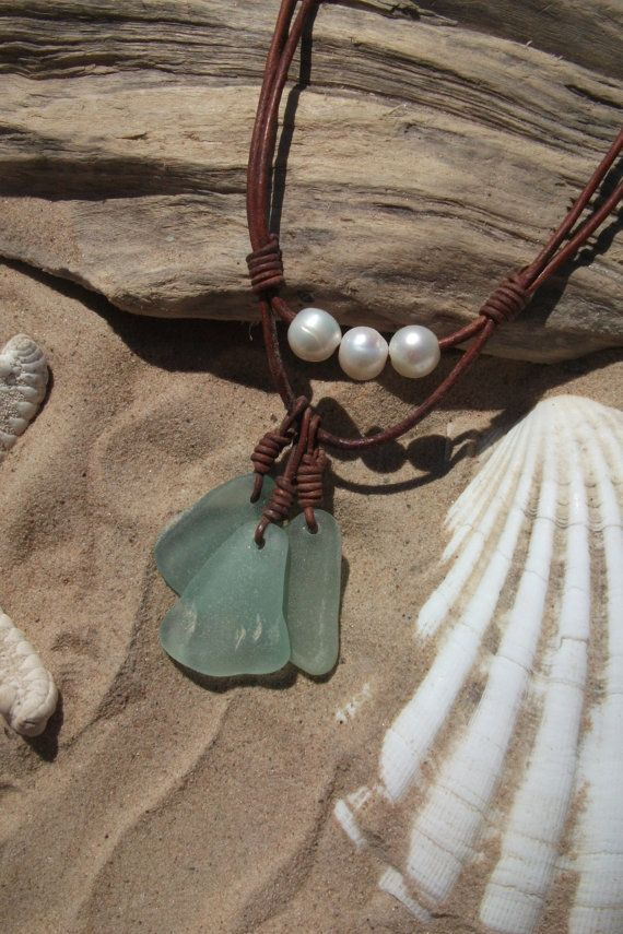 Sea glass jewelry,  Sea Glass and Freshwater Necklace -Leather Scottish Seaglass-Surfers Necklace-Beachwear.