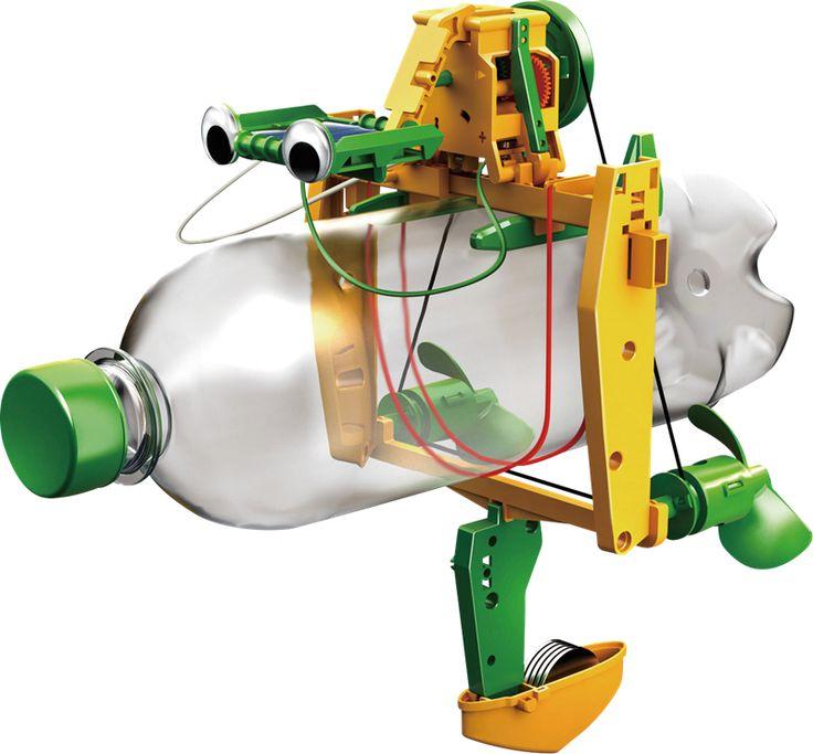 Återvinningsorienterad byggsats som kan byggas ihop till en av sex möjliga solcellsdrivna robotar! Robotarna kombinerar allt det roliga med att bygga saker med ett återvinningstänk som låter dig ta vara på gamla PET-flaskor, aluminiumburkar och CD-skivor. Tillsammans skapar de unika konstruktioner som t.ex. en robottrummis eller ett flaskskepp. Allt drivs med naturlig och miljövänlig solkraft. För barn från 8 år.