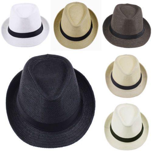 Été enfant de Style chapeau de soleil plage Sunhat Hat Fedora Trilby paille panama chapeau garçon fille Gangster Cap Fit pour enfants enfants femmes hommes