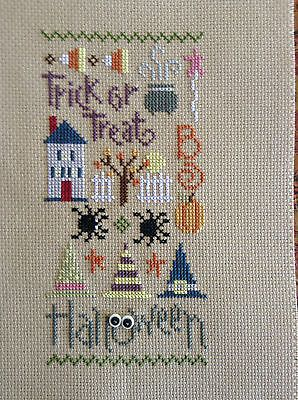 completed cross stitch Lizzie Kate halloween Trick or Treat Boo