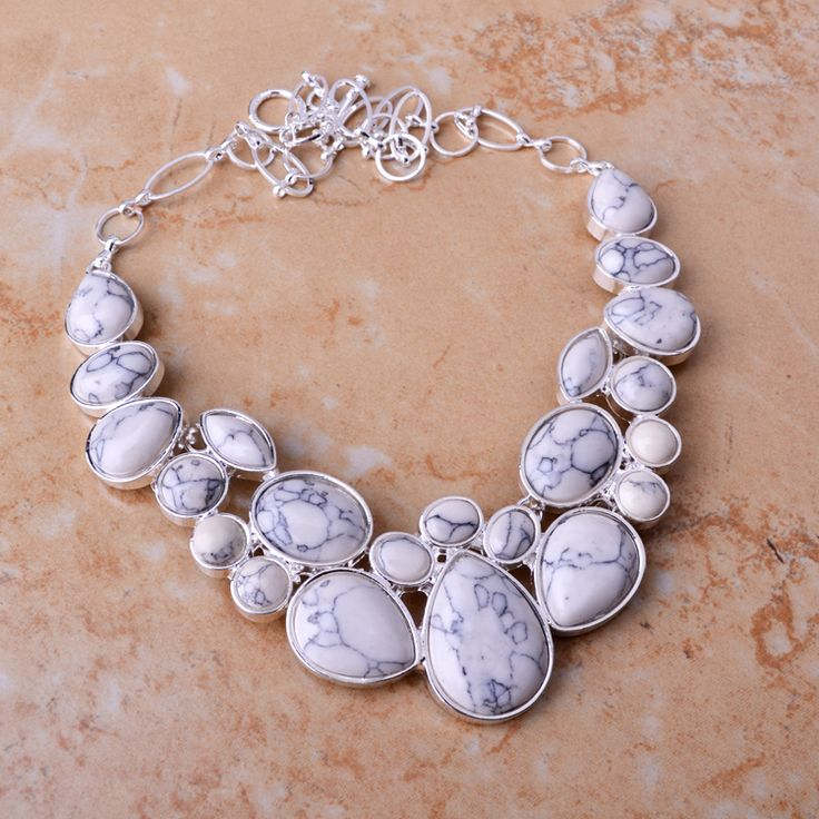 Big Pomotional Natural White Turquoise Luxury Jewelry Silver Plated Chains White Turquoise Women'S Necklace Hot Sales.#topstylehub #topstylehub.com #topstyle hub