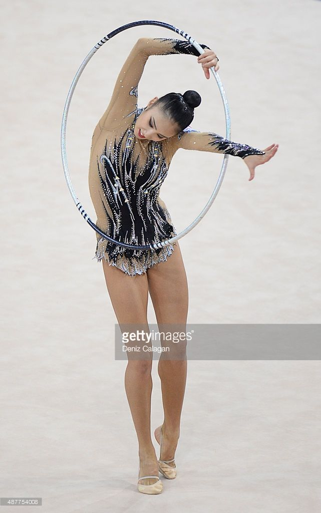 Sakura Hayakawa of Japan competes with hoop during the 34th Rhythmic Gymnastics World Championships 2015 on September 11, 2015 in Stuttgart, Germany.