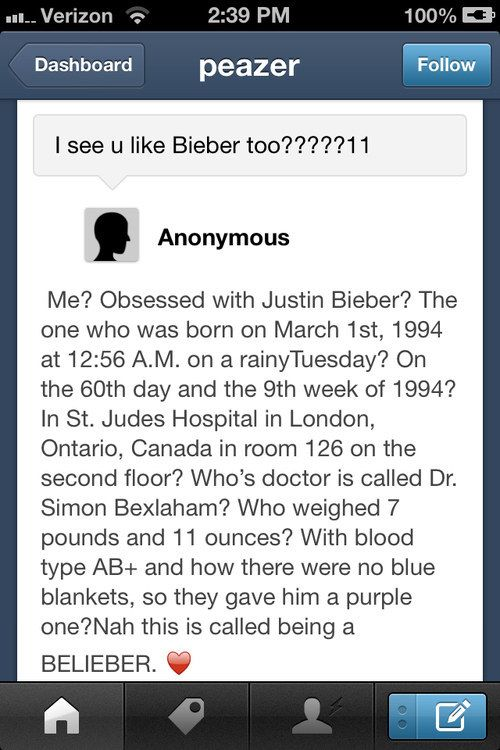 …and know lit'rally every God forsaken detail about his birth. | The 24 Most Terrifying Justin Bieber Fans