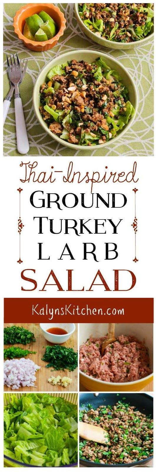 I love this Thai-Inspired Turkey Larb Salad with Sriracha, Mint, Cilantro, and Peanuts, and this delicious salad is low-carb, low-glycemic, gluten-free, and can be Keto and South Beach Diet friendly with approved sweetener. [found on KalynsKitchen.com] #ThaiLarbSalad #LarbSalad #ThaiInspiredSalad #GroundTurkeyThaiSalad