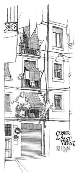 Croquis et dessins des rues de Barcelone.