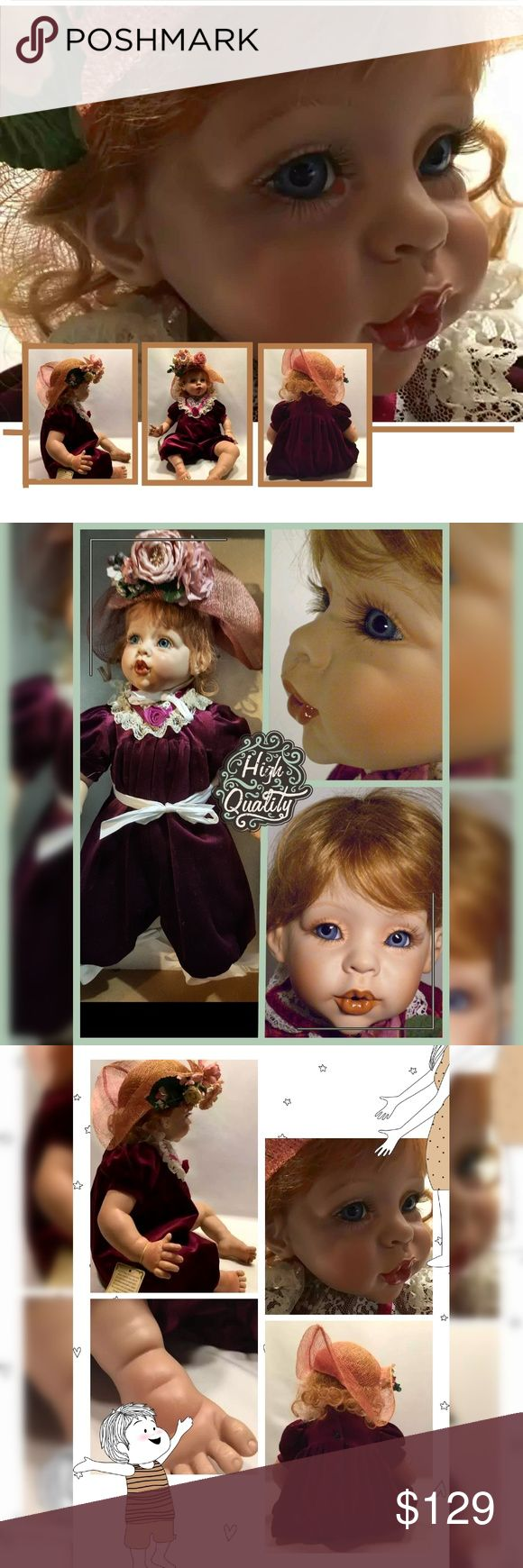 """Fayzah Spanos Precious Heirlooms Collections Doll This Beautiful Doll is called """"KISSES"""". She was created by the gifted doll artisan Fayzah Spanos. This particular design won?a 1994 DOTY Award. She is hand crafted wearing a lovely burgundy romper suit w/lace applique, burgundy ribbon short sleeves & a unique flower accented sun hat. She comes w/COA, wrist tag & original box. She is #1976 of 2500 worldwide..a limited edition beauty. She is about 26"""" long.?Comes As seen in pictures. Box has…"""