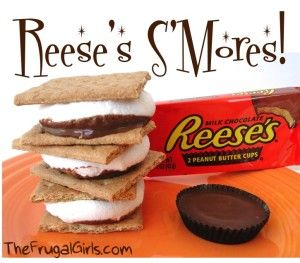 Reeses Smores and more...  Great camping recipe ideas!  I shouldn't know about the Reeses one, lol...dangerous!: Desserts, Recipes Ideas, Camps Recipes, Ree Smore, Reese Smore, Reese S More, Peanut Butter, Camping Recipes, Camps Food