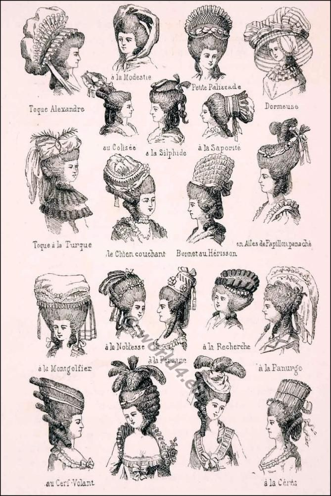 Coiffures 18th century. Various Rococo headdresses and hairstyles.