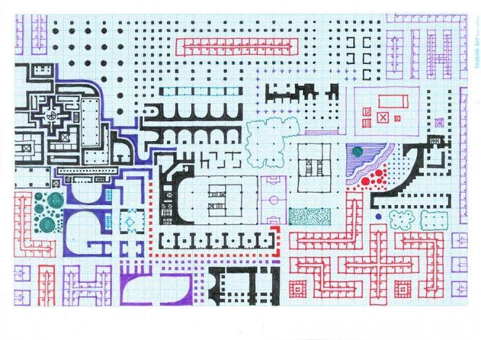 Sam Jacob - Una serie de dibujo explorar el plan como lo expresionista en sí mismo. Son dibujos en donde una forma de planomania produce un garabato de un MEGAPLAN, un gráfico inconsciente de la planificación en la que los castillos, de vivienda, campos de fútbol, obras de alcantarillado, pianos de cola se funden en un paisaje sin parar de la arquitectura.