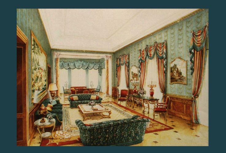SITTING ROOM watercolor on www.malleorossi.it