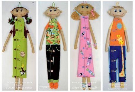 РОСТОМЕРЫ ОЛЬГИ АЛЬМУХАМЕТОВОЙ+ВЫКРОЙКА    Кукла высотой около 85 см, шкала от 70 до 130 см. Внешний вид и пол куклы могут быть любыми и зависят только от Вашей фантазии.   Нам понадобиться:   1. Ткань телесного цвета  2. Ткани для платья/рубашки, брюк  3. Наполнитель (синтепон и/или синтепух)  4. Пряжа (для девочек)  5. Проволока (для мальчиков)  Ход работы  1. На бумаге рисуем выкройку частей тела (голова, уши, руки, ноги), переводим ее на ткань. Все парные детали, за исключением ...