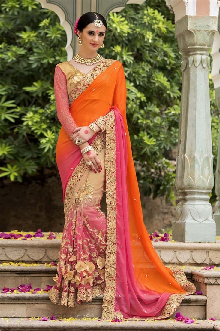 Online Shopping of Bridal Wear Net And Fancy Silk Fabric Embroidered Designer Saree In Orange And Pink Color from SareesBazaar, leading online ethnic clothing store  offering  latest collection of sarees, salwar suits, lehengas & kurtis