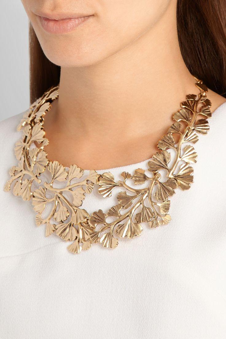 Oscar de la Renta Fern gold-plated necklace NET-A-PORTER.COM