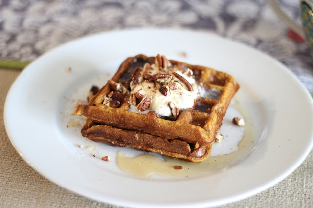 Pumpkin Pie Waffles- I used a combination of this recipe and the William Sonama recipe she adapted it from (she provides the link to that as well). I served ours topped with pumpkin pie fluff (a cool whip dip) and we all like them.
