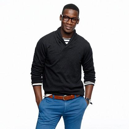 Cotton-cashmere shawl-collar sweater (large)