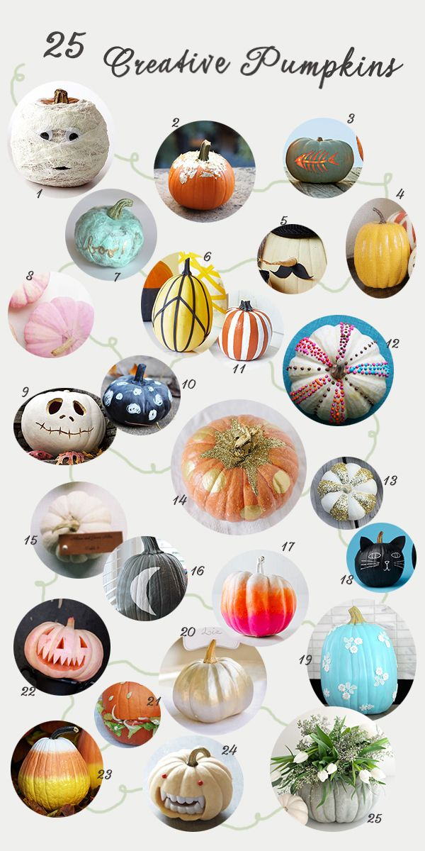 25 creative ideas for decorating pumpkins from A Subtle Revelry