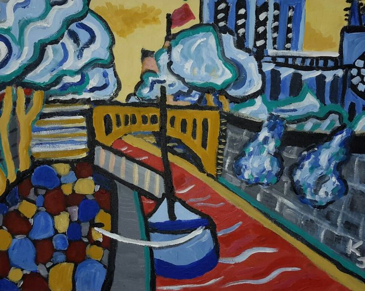 Notre Dame and the Seine from the quai by the tourist boat, acrylic on panel, by Katie Jurkiewicz