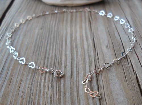 Handmade 925 Sterling Silver Heart Shaped Chain Anklet | pavlos - Jewelry on ArtFire