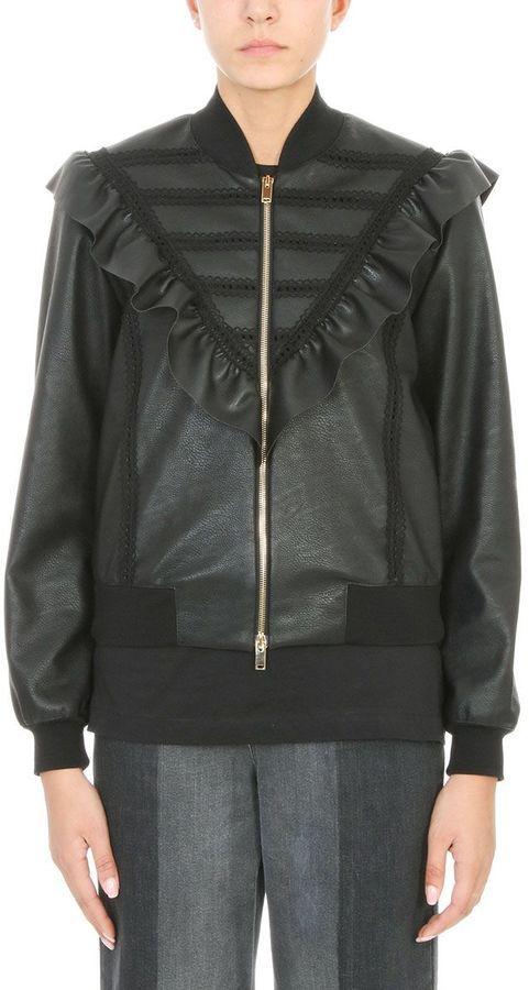 Stella McCartney Black Faux-leather Bomber Jacket