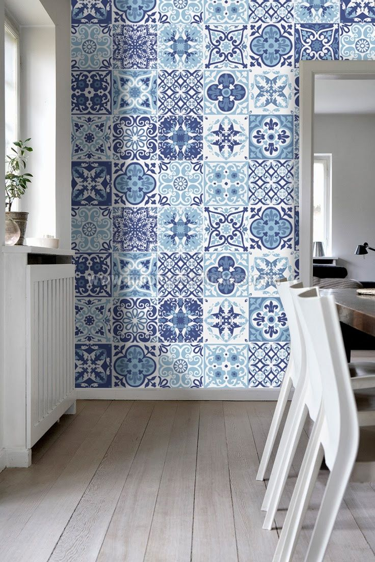 blue tile bathroom backsplash