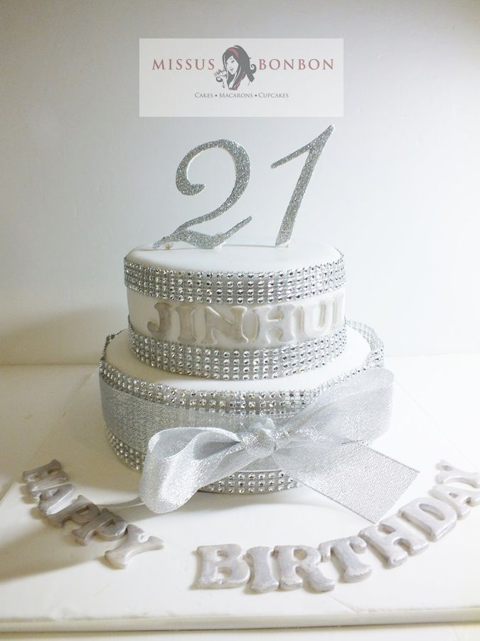 Silver W Cake Topper