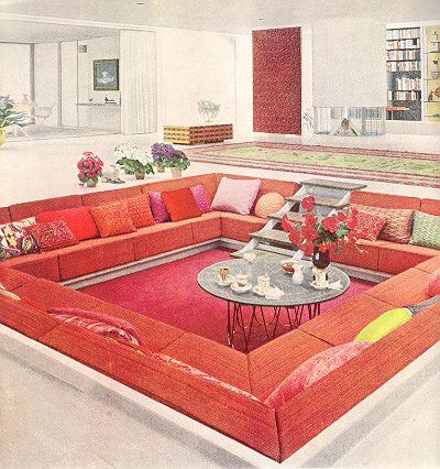 286 best images about vintage decorating on pinterest for Sunken living room designs