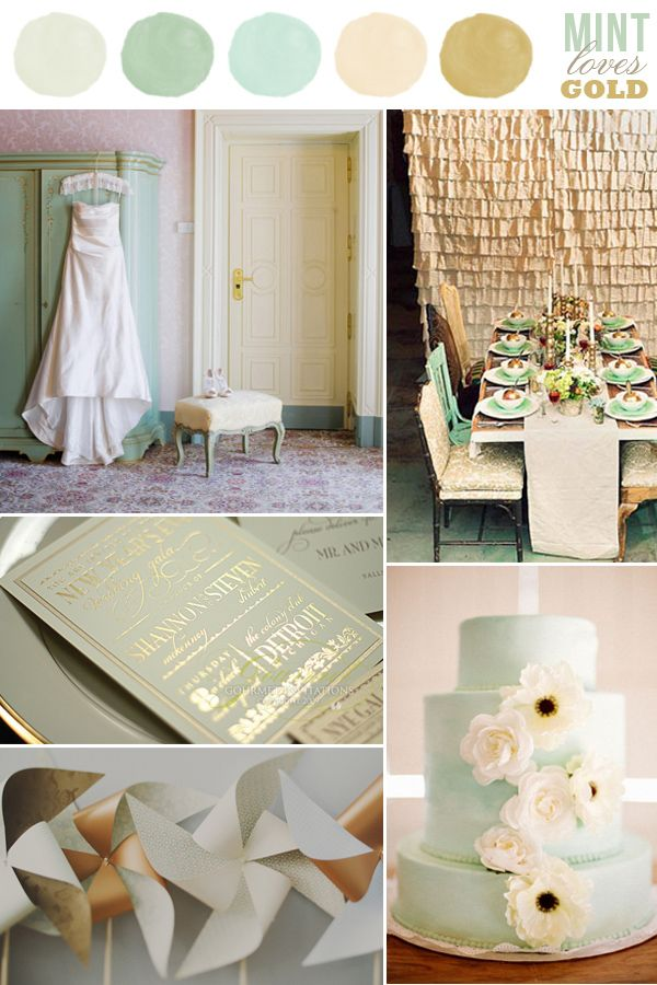 wedding color combination: Mint Loves Gold: mint green/blue and gold/beige I would like it to me mint, silver, coral tho :)