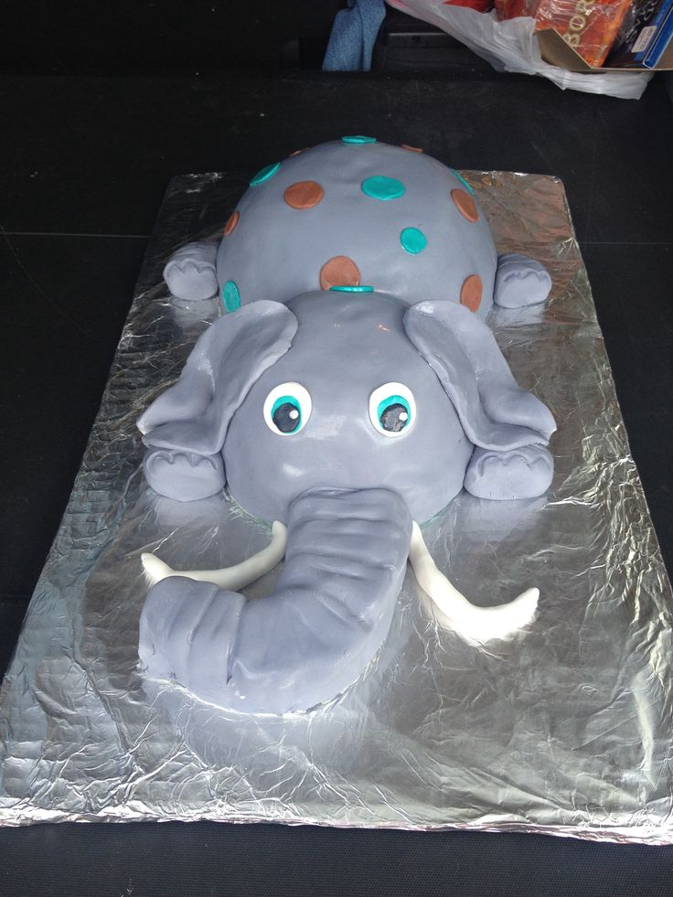 Elephant Baby Shower Cake With Brown And Teal